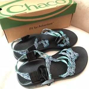 NWOT Blue and Green Chaco Sandals